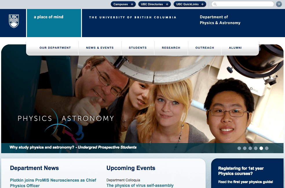 UBC Department of Physics and Astronomy homepage